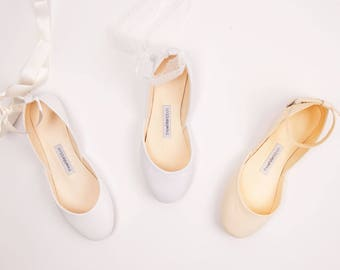 The Wedding Shoes | Bridal Ballet Flats | The Low Heel Shoes for Brides | Classic White or Ivory Wedding Flats | Made to Order