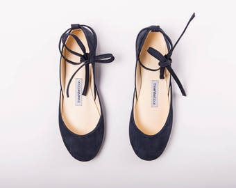 Handmade Leather Navy Blue Suede Ballet Flats | Ballerina Style Flats | Pointe Style Shoes | Navy with Leather Ribbons