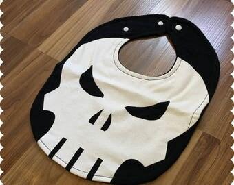 Skull Baby Bib, Recycled T-Shirt Baby Bib, Baby Shower Gift, Baby Boy Clothes
