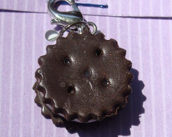 Chocolate sandwich cookie - polymer clay charm