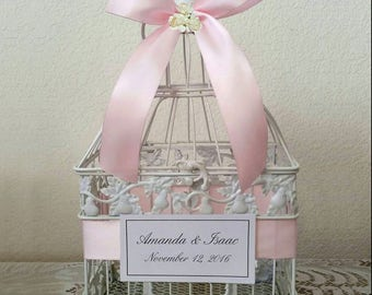 Paper Roses Small Bird Cage-Wedding card holder