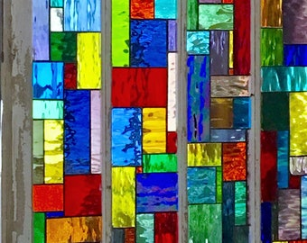Vintage Window with Custom Stained Glass insert panels