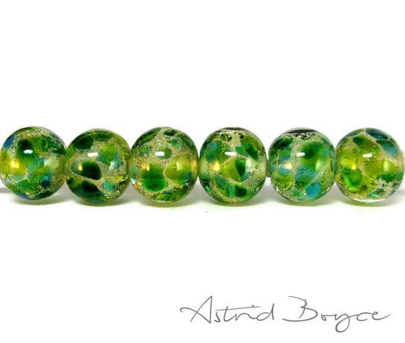 Greenery Sparkle Round Beads Artisan Lampwork Beads Set of Six -Free USA Shipping-Pantone Greenery-Pantone 2017 Color of the Year