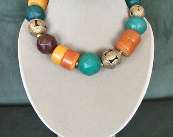 Tribal Ethnic Necklace with Bohemian beads, African amber, rare vaseline beads and African agates