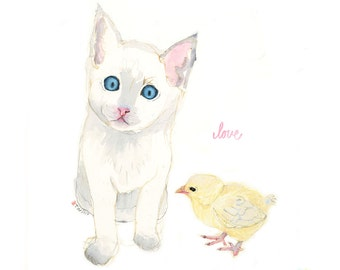 Kitten and Chick Love Blast,  Watercolor Illustration Print