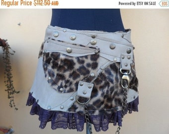 """20%OFF leather,faux leo fur and lace ruffle belt with pocket and studs...28 to 36"""" waist or hips.."""