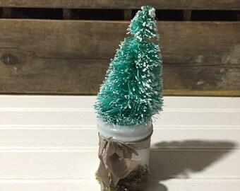 Christmas tree bottlebrush tree Vintage milk Glass Bottle Repurpose Reuse Home Decor