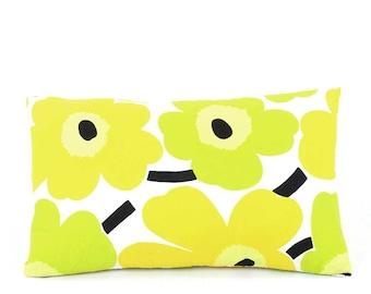 Floral Lumbar Pillow Cover 12x20, Marimekko Throw Pillow, Poppy Pillow, Orange Lumbar, Green Lumbar, Popping Poppies