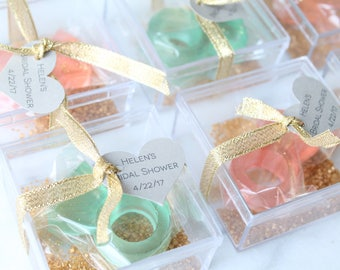 Candy Ring in a Box/ Bridal Party Favors/Personalized  6 PCS