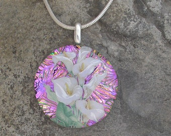 Calla Lily Necklace Dichroic Fused Glass Pendant