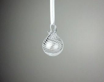 miniature white swirl blown glass ornament