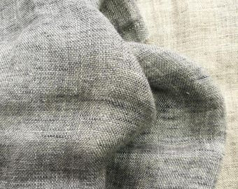 LINEN Fabric - DOUBLE face with softening- Blue Melange and Gray