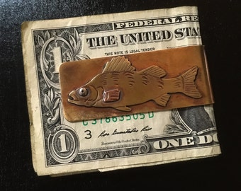 Yellow perch bronze money clip  hand made fish money clip