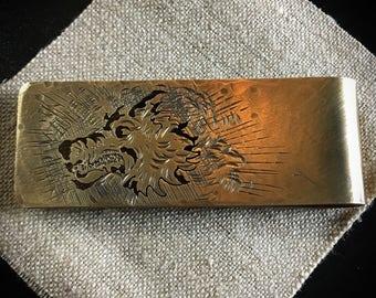 Hand made brass wolf money clip