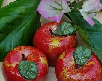 3 Mini Orchard Apples Paper Mache Clay