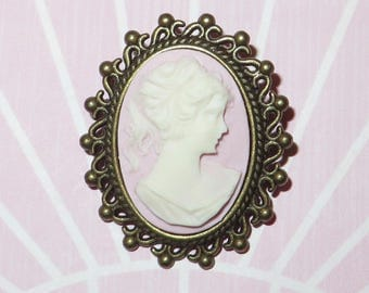 Cameo Brooch  - 'MYSTERIOUS LADY'  Vintage Inspired Victorian Cameo Brooch in Antique Bronze - Lilac