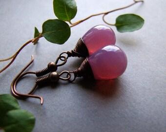 SALE Glass Drop Earrings, Bohemian Jewelry, Retro Dangle Drop Earrings, Berry Drop Dangle Earrings