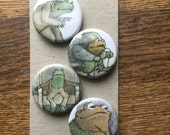 Frog and Toad magnets.  Set of 4.