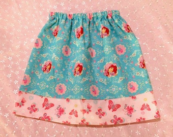 Girls twirl skirt - Elastic Waist - Turquoise and pink Strawberry Shortcake  -  Pick your size 18 months through 10 years.