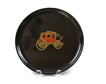 Couroc Tray - Drinks Tray, Serving Tray, Wells Fargo Stage Coach, Holiday Tray, Mid Century Tray, c1960s