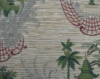 U Pick Asian Inspired Stunning Salvaged Mid Century 1940s 1950s Wallpaper Sample From Early 1900s General Store to Frame, Crafts Cut to Size