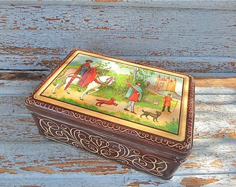 Large French Tin  Box Featuring a Medieval Scene 1940