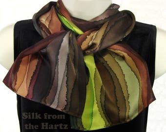 "Earthtone Stripe Hand Dyed 8""x 54"" Silk Scarf"