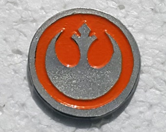 Hand Cast Pewter Rebel Pin - 1 inch Red or Orange