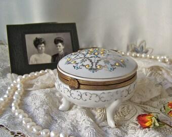 Vintage Porcelain Trinket Box Germany Footed Jewelry Box Kalk Porcelain Vanity Box Vintage 1940s