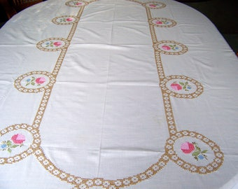 Vintage Tablecloth Hand Embroidered Shades of Pink Linen Banquet Table Wedding Table Vintage 1960s