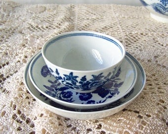 Antique Dr Wall Porcelain Teabowl Saucer And Bowl Three Flowers Circa 1751 Worcester Porcelain 18th Century English Porcelain