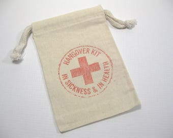 10 Wedding Bridal Shower Muslin Favor Bags 6 X 4 inch - Survival Kit Bags - Hangover Kit Bags - Bridal Shower Favors - gift bags