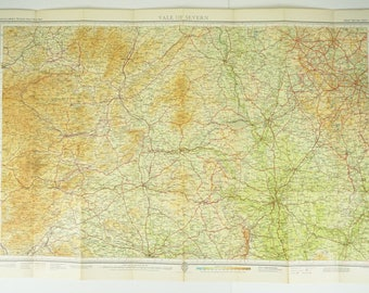 Vale of Severn, England and Wales Vintage Map - Bartholomews Map - home decor - office decor