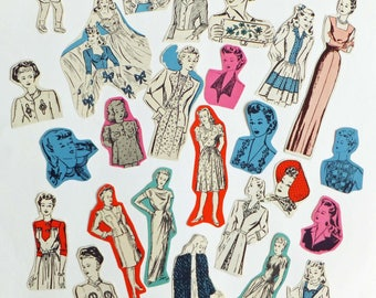 Vintage fashion die cuts, 1950's cut outs, cutouts, scrapbook embellishments, sewing journal, collage paper pack, paper scraps