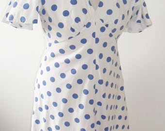 1940s style cotton polka dot tea dress