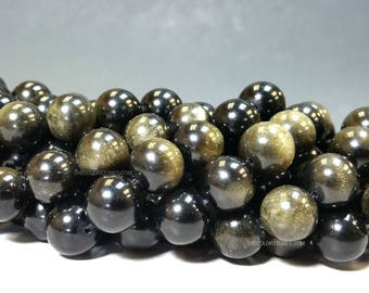 6 , 8 , 10 or 12 mm. AA Grade Natural Golden Black Obsidian Smooth Round Beads Full Strand (G1414NMS)