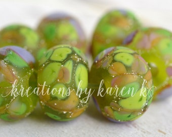 lamp work beads...SRA handmade lime & lavender lampwork beads, soft colors, beads set of (7) for making jewelry 11117-13