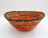 RESERVED FOR CHELLY Autumn Lawn Coiled Fabric Bowl orange green batik