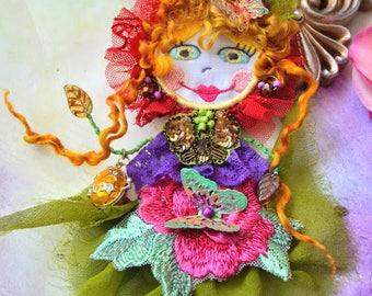 Unique brooch art to wear wearable art doll brooch fairy flower brooch beaded brooch artsy brooch