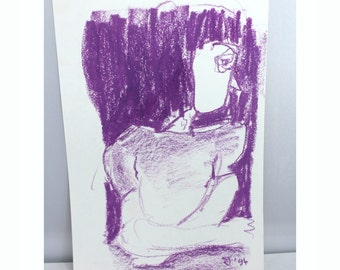purple drawing- original wall art- oil pastel - 1994 by Jolanda