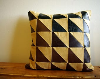 Leather and Linen Quilted Decor Pillow