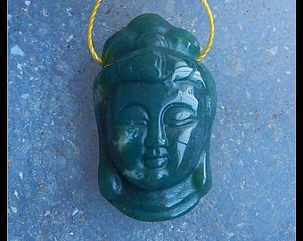 Carved Moss Agate Gemstone Buddha Head Pendant Bead,29x17x10mm,7.3g(e0513)