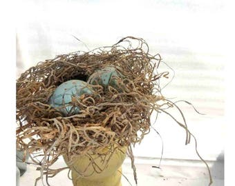 Small Nest of Moss, Seaweed, with Robin-coloured eggs of wood, all recycled salvaged materials