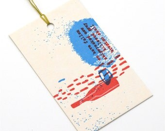 letterpress gift tag / wine and poetry / upcycled calendar / tag / swing tag / gift giving / single tag / letterpress print
