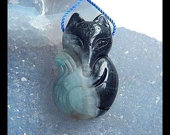 Carved Amazonite Fox Gemstone Pendant Bead,35x22x12mm,14.21g