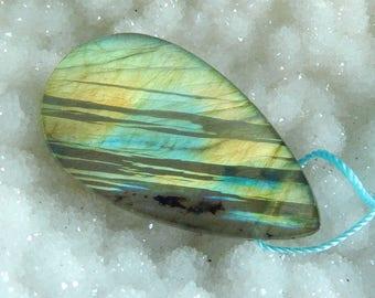 New,Teardrop Shape Labradorite Gemstone Necklace Pendant 39x22x5mm,7.79g