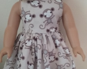 Sundress for american girl 18 inch doll monkey print cotton fabric