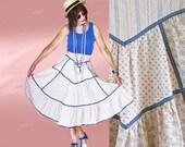 Vintage Gunne Sax Midi - 70s - High Waist Prairie Skirt - MINT - Boho Floral Mix