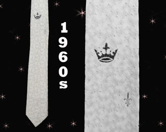 Silver Skinny Tie, Mens 60s Vintage Skinny Necktie, Silver Necktie, Retro Skinny Tie, Vintage Skinny Tie with Crowns, Retro Tie Gift for Him