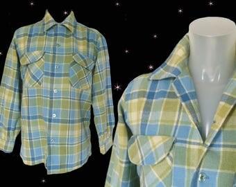 Plaid Wool Shirt Mens Casual Vintage Pastel Tartan, Pendleton Long Sleeve Button Down Stranger Things Clothing, Green Gift for Him, VFG